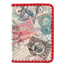 """Обложка для паспорта кожаная с ручной оплеткой с отделениями для карт """"Марки"""" (Арт Кажан)"""