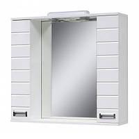 Дзеркало з світильником з двома шкафчиками (шкаф до кінця) 80 см., розетка, фреза