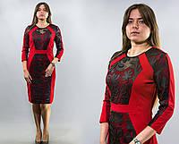 """Изумительное женское платье ткань """"Хлопок+стрейч"""" с аппликацией из эко кожи к. 48, 50, 52, 54, 56 размер батал"""