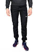 Черные мужские спортивные трикотажные штаны с манжетами NIKE, фото 1