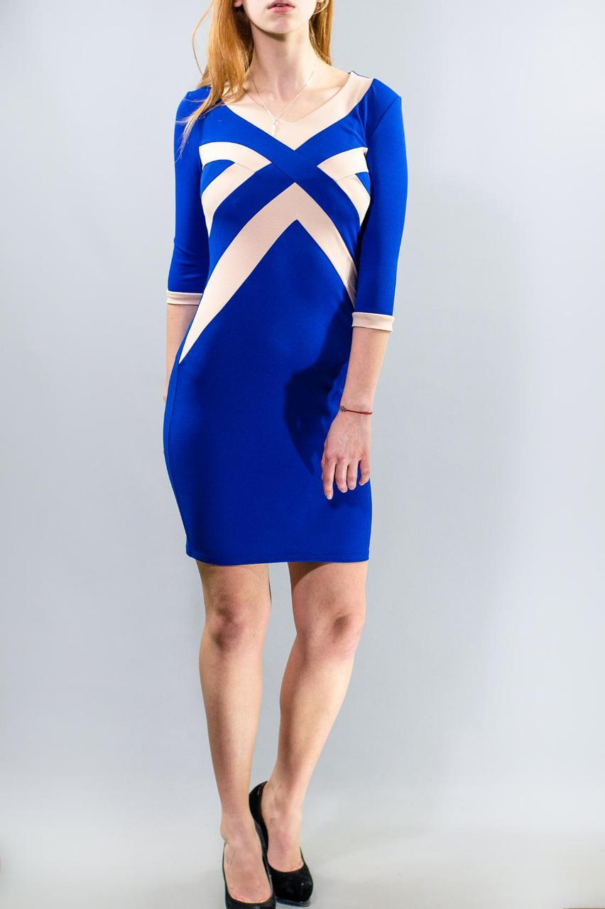 Шикарное женское платье электрик ткань *Креп-Трикотаж* 42 размер норм