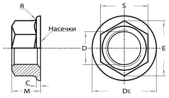 Схема оцинкованной фланцевой гайки DIN 6923 купить
