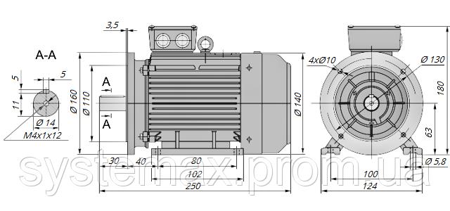 АИР63А4 / АИР 63 А4 / IM 2081 / IM2081 | комб / комбинированный / фланцевый / 0,25 кВт / 1500 об/мин