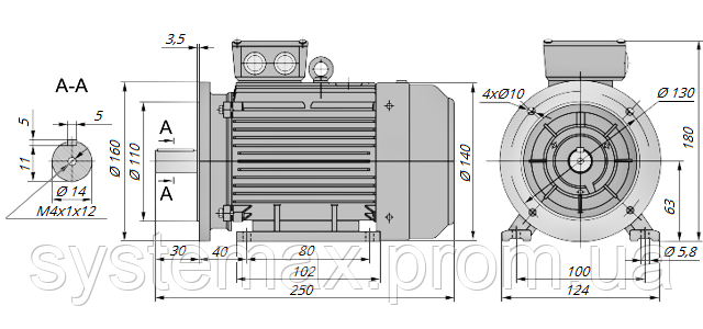 АИР63В4 / АИР 63 В4 / IM 2081 / IM2081 | комб / комбинированный / фланцевый / 0,37 кВт / 1500 об/мин