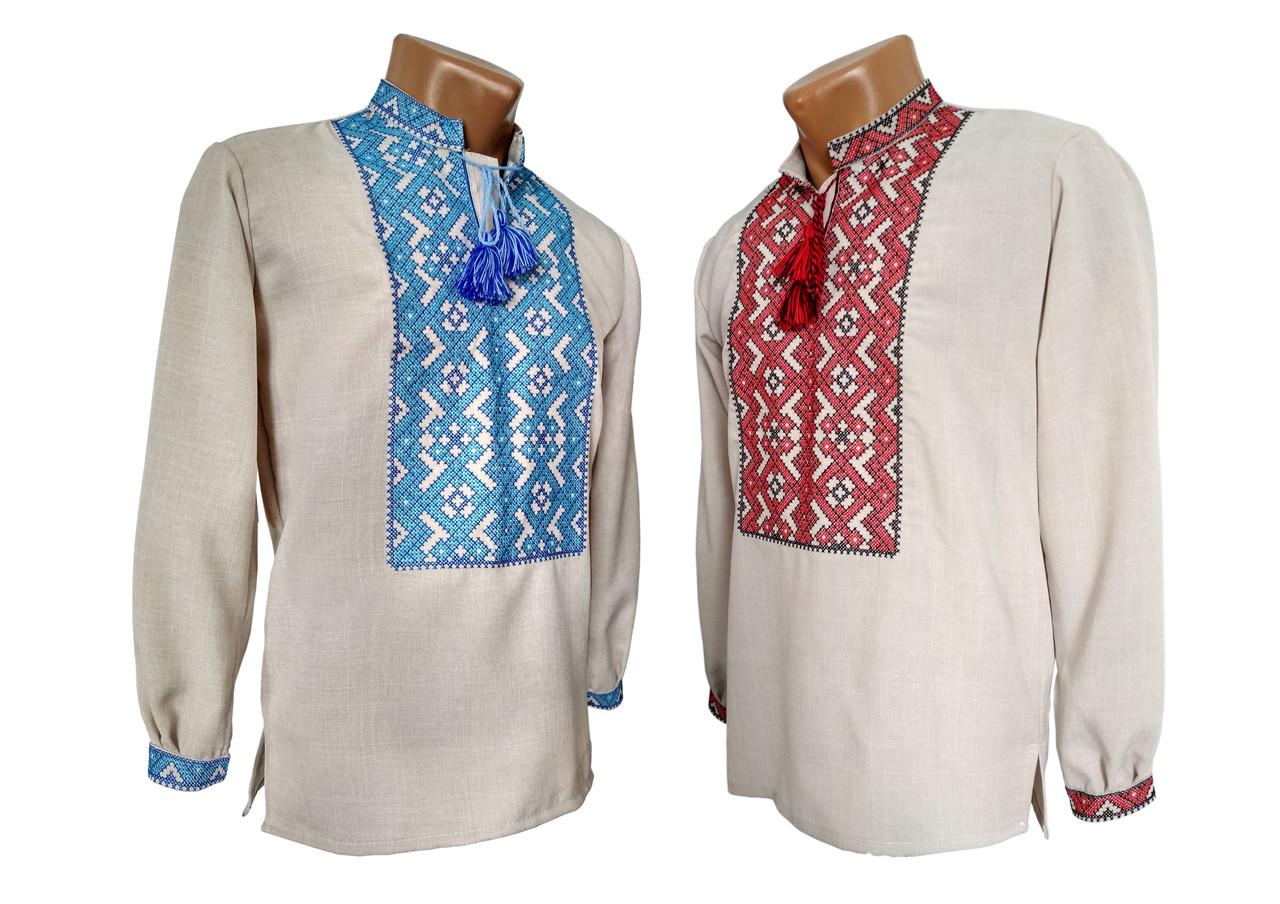 Льняная вышитая мужская рубашка с геометрическим орнаментом