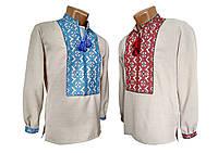 Льняная вышитая мужская рубашка с геометрическим орнаментом, фото 1