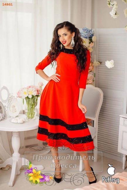 """Волшебное кружевное женское платье красное ткань """"Костюмная"""" 42 размер норма"""