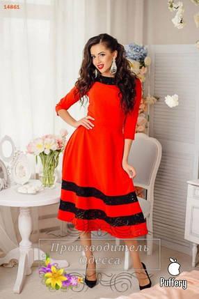 """Волшебное кружевное женское платье красное ткань """"Костюмная"""" 42 размер норма, фото 2"""
