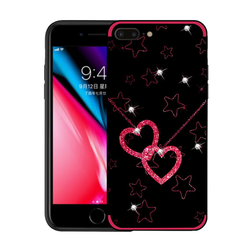 Чехол накладка для iPhone 7 Plus силиконовый со стразами NXE, Сердца и звезды