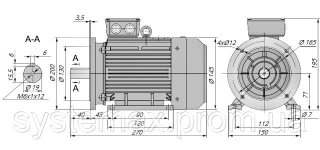 АИР71В2 / АИР 71 В2 / IM 2081 / IM2081 | комб / комбинированный / фланцевый / 1,1 кВт / 3000 об/мин