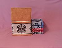 Махровое полотенце для лица оранжевое не маркое мягкое (90х50 см)