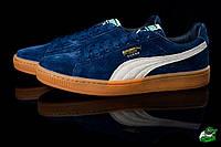 Мужские замшевые летние кеды синие Puma Sued Dark Blue (реплика), фото 1