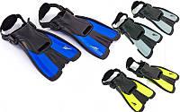 Ласты тренировочные с открытой пяткой (ласты с пяточным ремнем) Seals F16: размер 34-38, 3 цвета