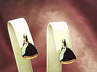 Серьги золотые 585 пробы с натуральным камнем гранат
