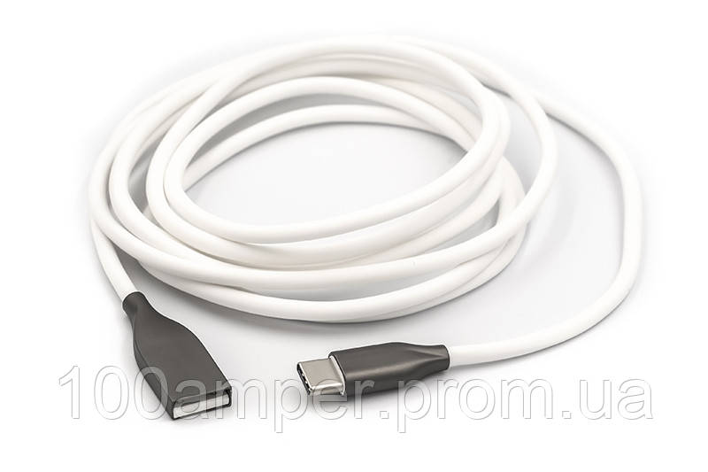 Кабель PowerPlant USB - Type-C, 2м, силикон, белый