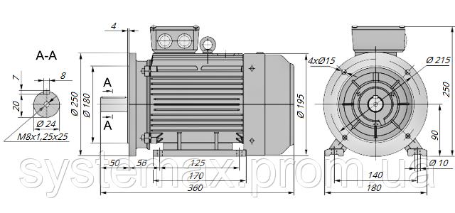 АИР90L4 / АИР 90 L4 / IM 2081 / IM2081 / комб / комбинированный / фланцевый / 2,2 кВт / 1500 об/мин