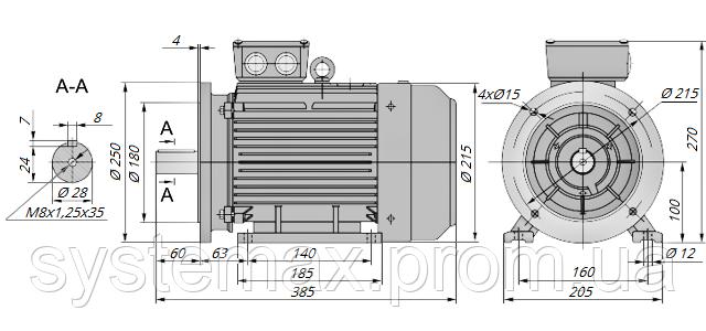 АИР100L4 / АИР 100 L4 / IM 2081 / IM2081 / комб / комбинированный / фланцевый / 4 кВт / 1500 об/мин