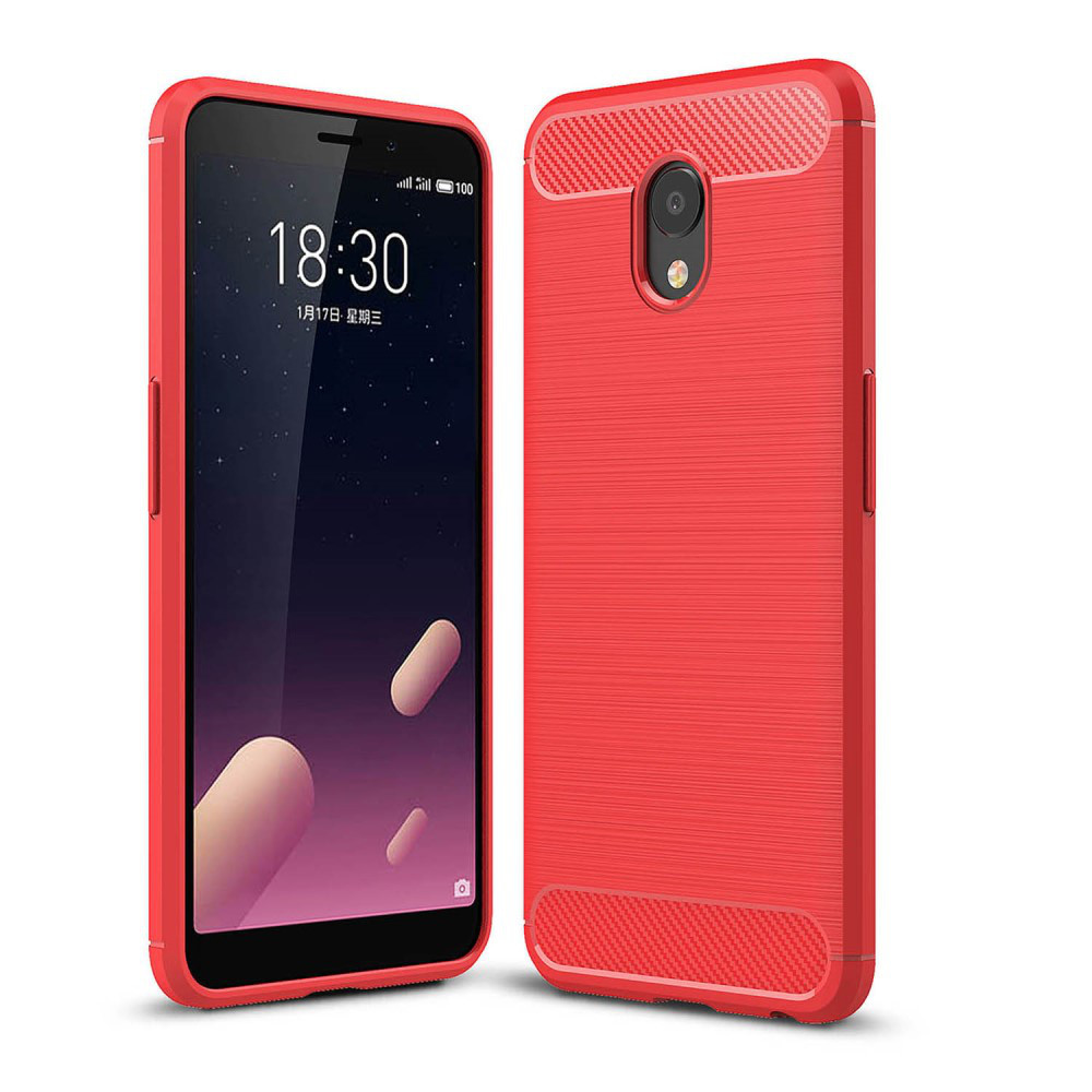 Чохол накладка для Meizu M6S силіконовий, Carbon Fiber, червоний