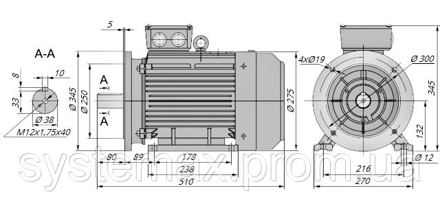 АИР132М4 / АИР 132 М4 / IM 2081 / IM2081 / комб / комбинированный / фланцевый / 11 кВт / 1500 об/мин