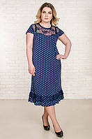 Нарядное летнее платье размер плюс Венеция синее в мятный горох (50-66)
