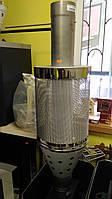 Сетка для камней с трубой 100 см и шибером  для банной печи д. 120 мм (сталь 321, толщина 1 мм)