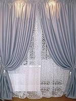 Готовый комплект из портьерной ткани - Блэкаут  София  (ширина 3 метра)