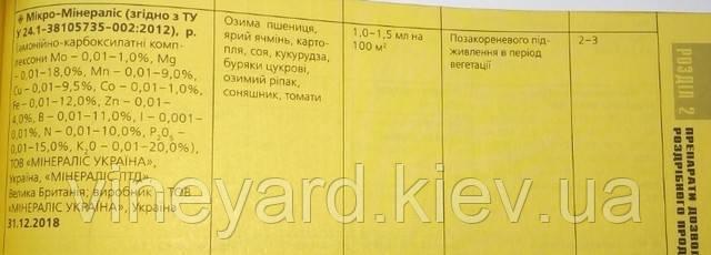 Минералис-Украина (Марганец), удобрение, норма внесения, фаза развития, состав микроудобрения, украинский производитель
