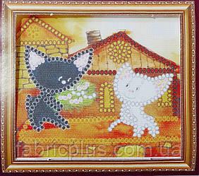 """Набор для вышивки бисером (магнит) """"Коты на крыше"""""""
