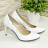 Женские классические кожаные белые туфли на шпильке! , фото 4