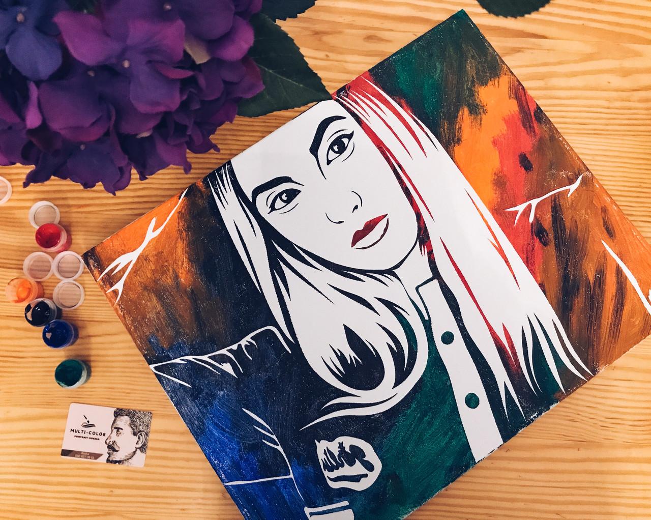 Портрет флип флоп, портрет по фото, pop art, поп-арт,  портрет на заказ Размер 30*40