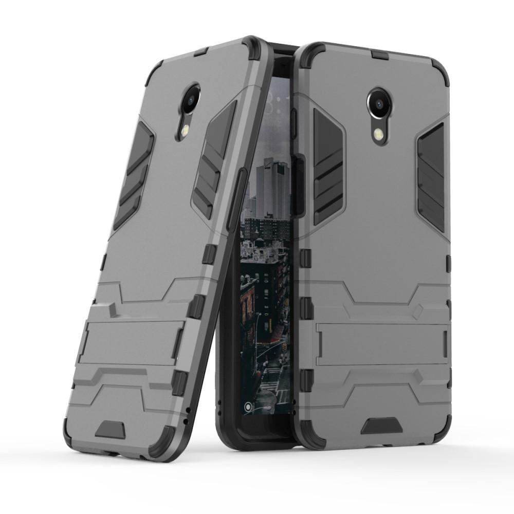 Чехол накладка для Meizu M6s противоударный силиконовый с пластиком, Alien, серый