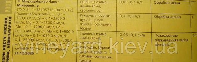 """Нано-Минералис (наноактиватор), """"Янтарный"""", украинский производитель, норма внесения, состав, нанокарбоксилаты, стандарт ТУУ"""
