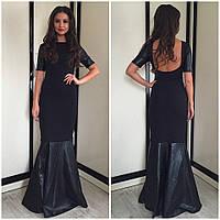 Платье в пол с кожаными элементами, открытая спинка черный