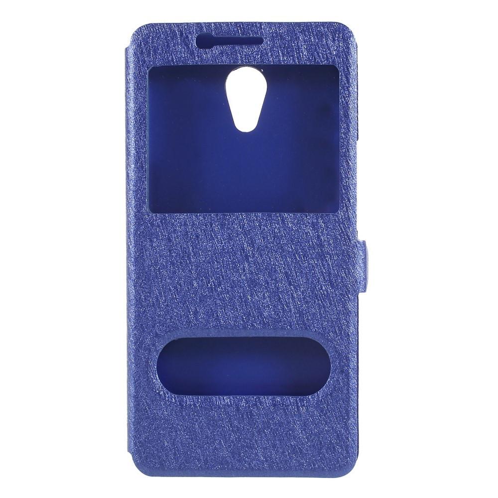 Чехол книжка для Meizu M6s боковой с окошком, Шелковая фактура, синий