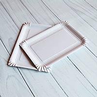 Бумажная Тарелка 15×22 См Белая Ламинированная 100 шт.