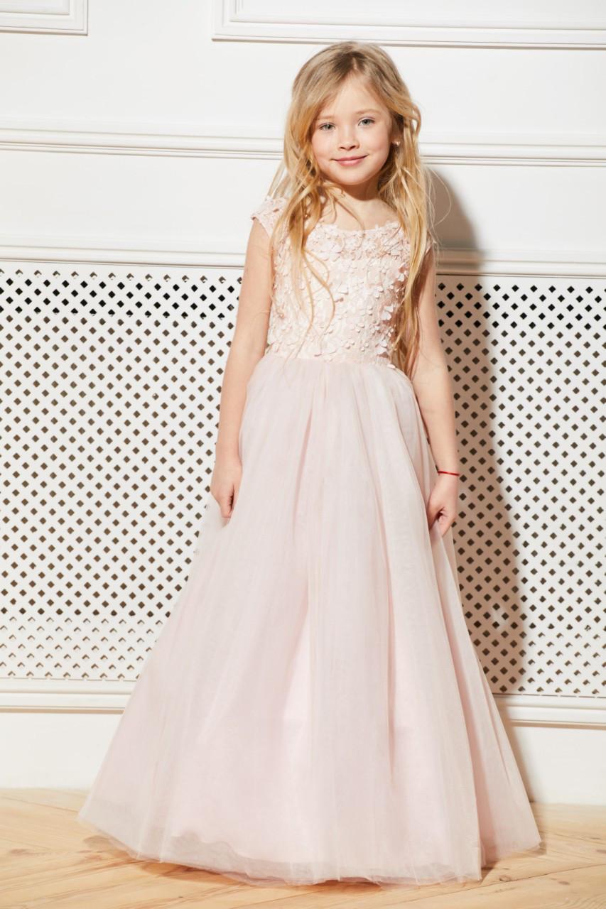 Платье детское нарядное на 6-9 пудровое