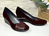 Женские бордовые туфли на танкетке, натуральная кожа и замша, фото 3