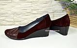 Женские бордовые туфли на танкетке, натуральная кожа и замша, фото 4