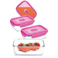 Форма для хранения LUMINARC PURE BOX ACTIVE NEON, НАБОР, 3 пр., прямоугольная, розовая крышка