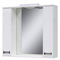Дзеркало зі світильником з двома шкафчиками (шкаф до кінця) 80 см., розетка