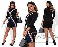 """Элегантное женское платье ткань на талии поясок """"Хлопок+Стрейч"""" 52 размер батал"""
