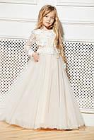 Нарядное детское платье молочное с желтым на 6-10 лет