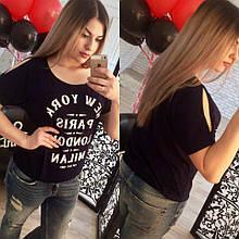 Женская футболка батал, турецкая вискоза, р-р универсальный 50-54 (тёмно-синий)