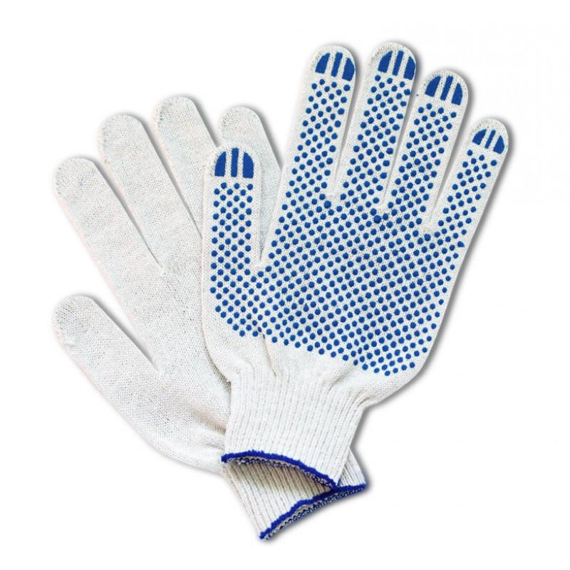 Перчатки трикотажные с ПВХ-покрытием RT0158-3-BC, белого цвета - р.10