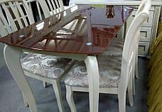 Стеклянный стол на кухню на деревянных ножках ДКС Классик Антоник, цвет на выбор, фото 2