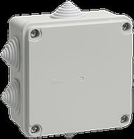 Коробка КМ41233 распаячная для о/п 100х100х50 мм IP44 (RAL7035, 6 гермовводов)
