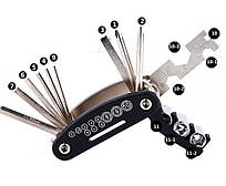 Мультитул 15 в 1 для велосипедиста. Профессиональный набор велоинструмента. Набор инструмента для велосипеда.