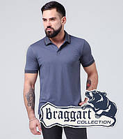 Braggart | Футболка поло из хлопка 6635 серо-синий