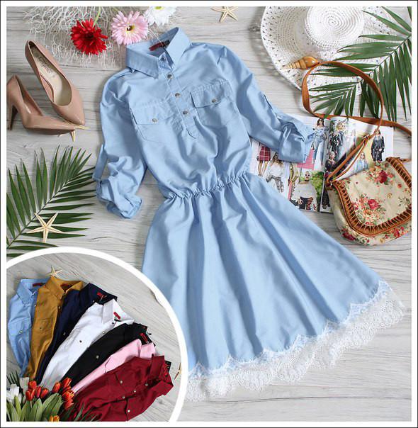 Легкое летнее платье клеш Голубой