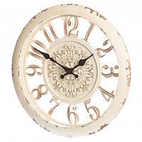 Настенные часы с резьбой кремовые